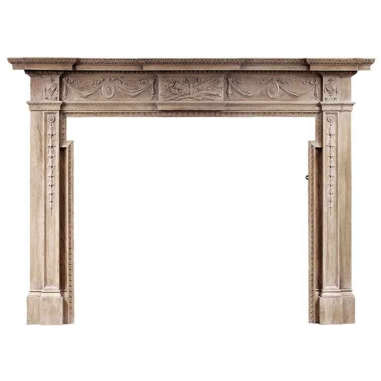 19th Century English Wood Mantelpiece in the Georgian Style