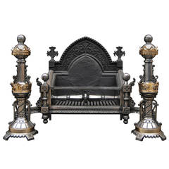 Very Impressive Gothic Revival Brass and Polished Steel Firegrate