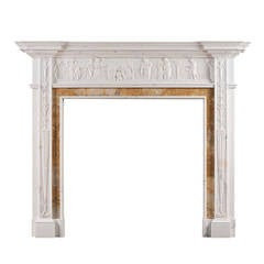 Antique Fireplace Mantel With A Wedgwood Central Table For