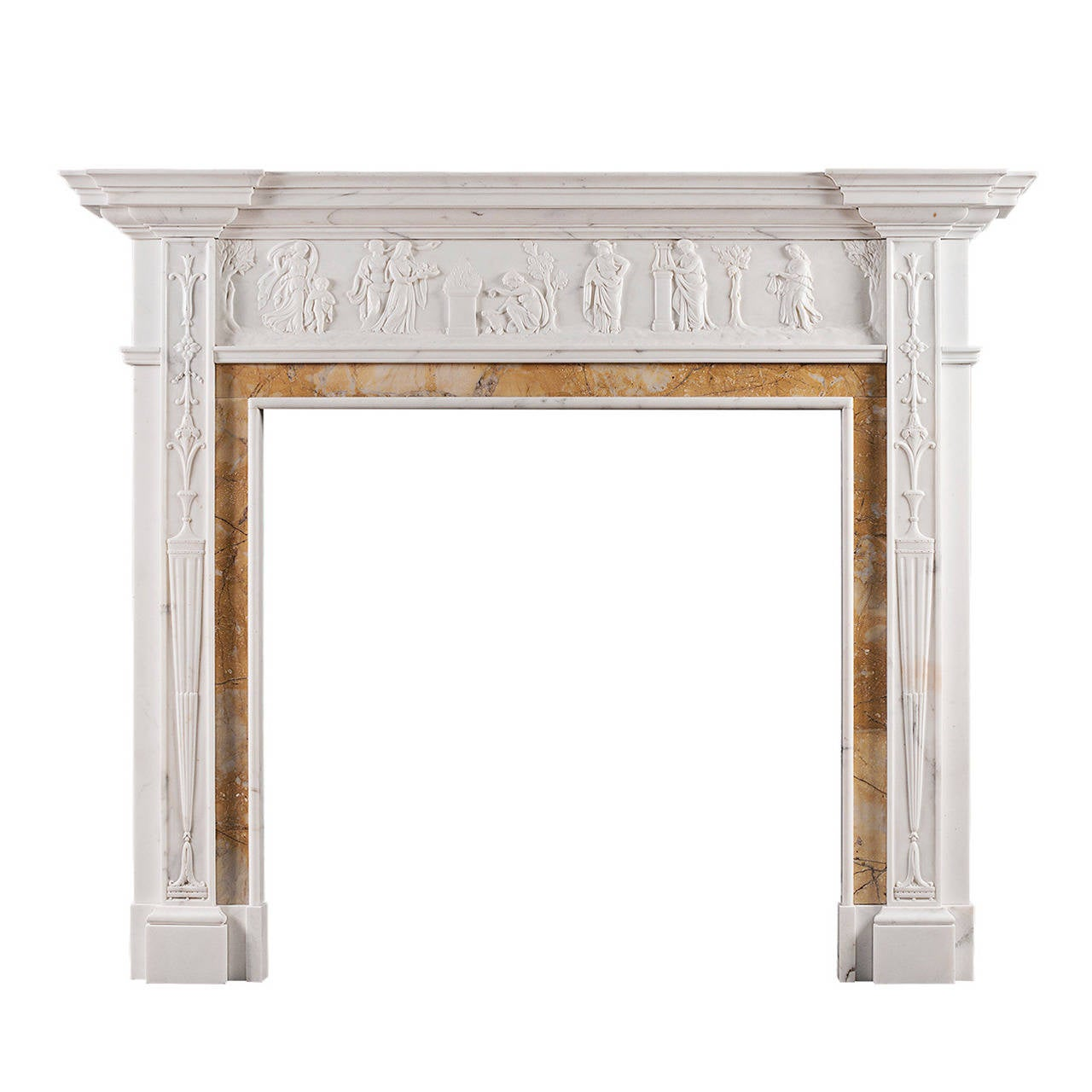 Neoclassical English Statuary Marble Fireplace Mantel with Siena Inlay