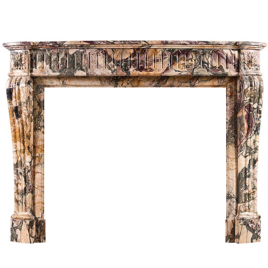 French Louis XVI Style Breche de Benou Marble Fireplace Mantel