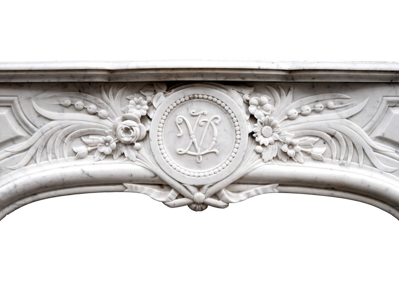 french louis xiv style carrara marble fireplace mantel for sale