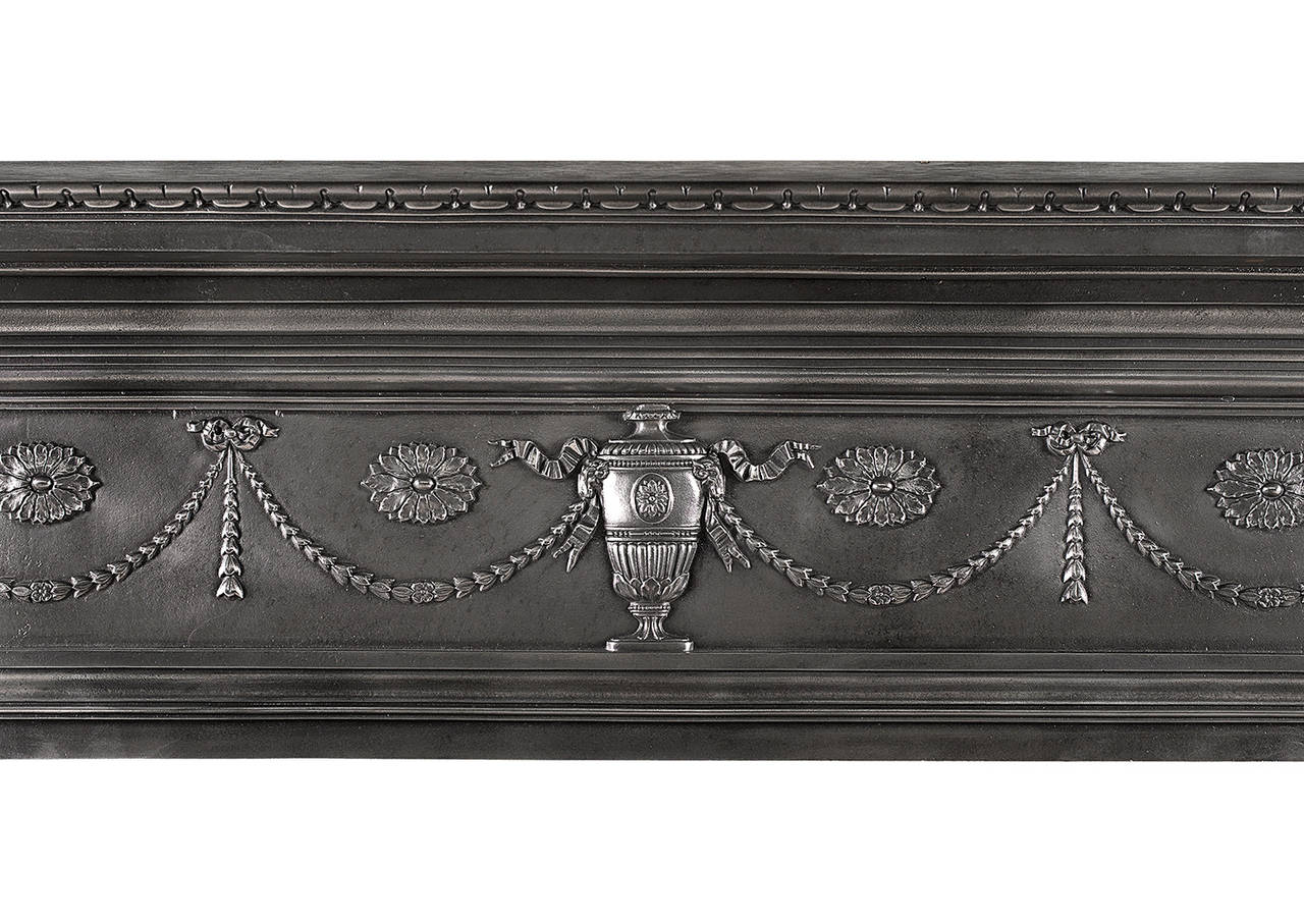 A 19th Century Polished Cast Iron Fireplace Mantel In The Adam Style For Sale At 1stdibs