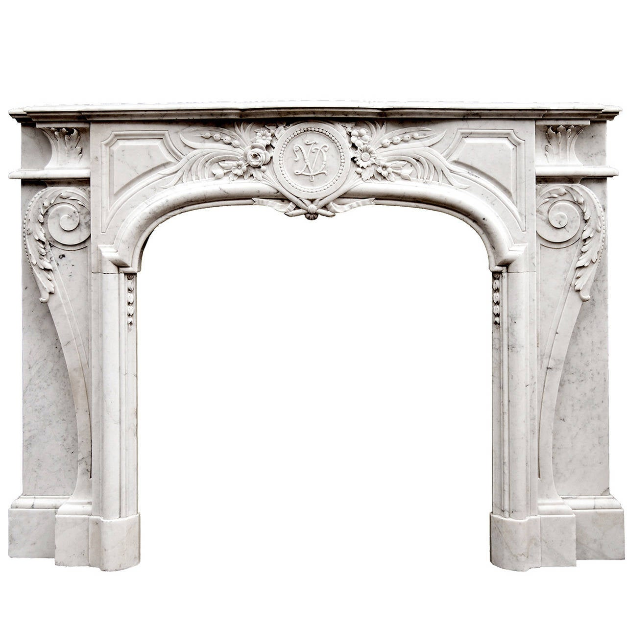 Louis XIV Style Carrara Marble Fireplace Mantel For Sale at 1stdibs