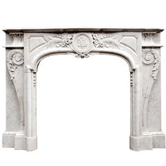 French, Louis XIV Style Carrara Marble Fireplace Mantel