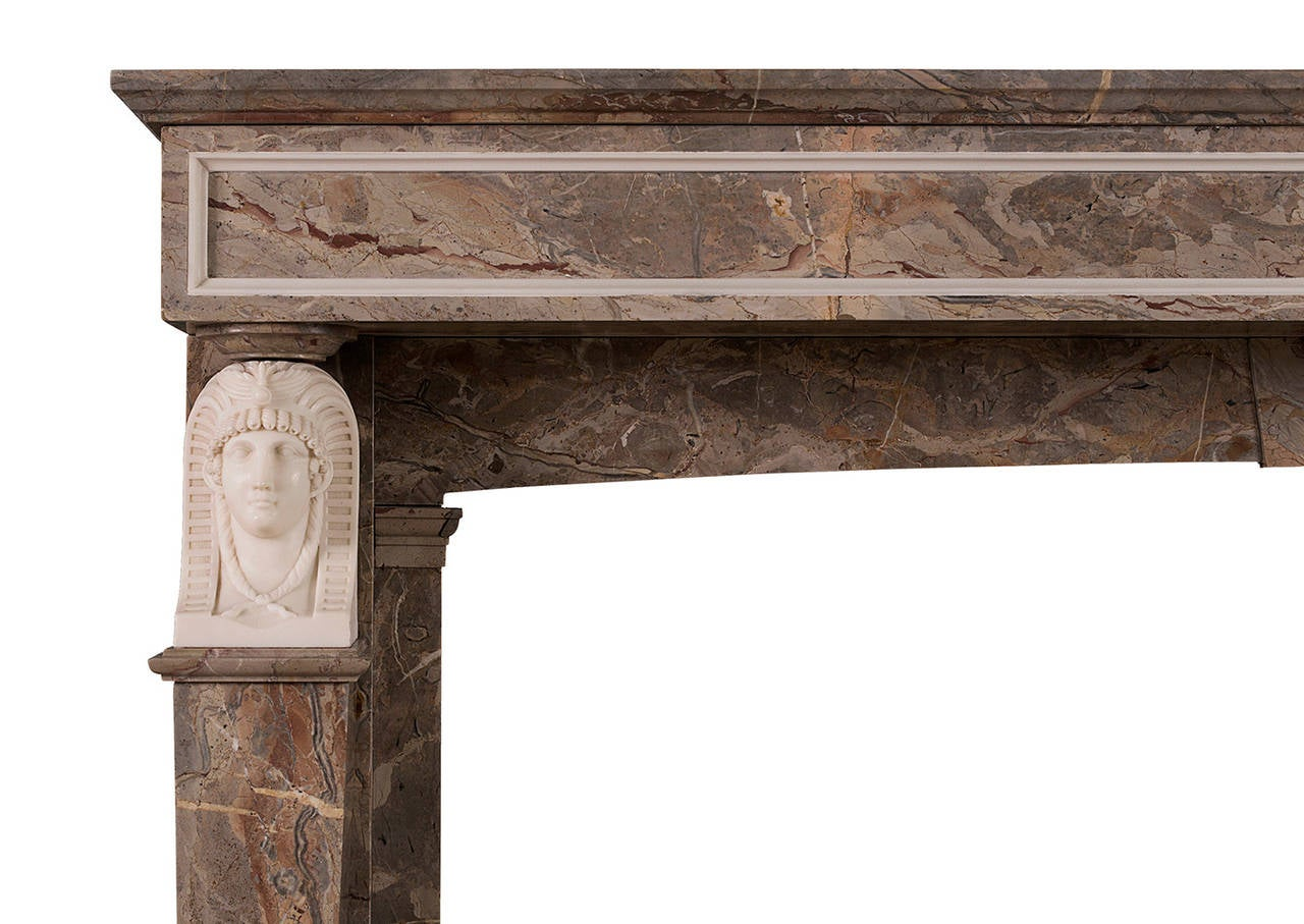 French empire sarancolin and statuary marble fireplace for Marble mantels for sale