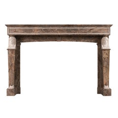 French Empire Sarancolin and Statuary Marble Fireplace Mantel