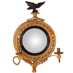 19th Century Regency Giltwood Convex Mirror