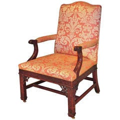 19th Century Chippendale Mahogany Gainsborough Armchair