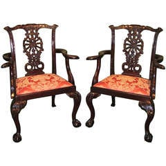 19th Century Chippendale Mahogany Armchairs