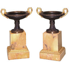 19th Century Bronze Ormolu and Marble Tazzas