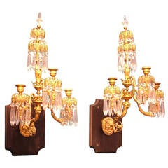 Pair of Regency Period Gilt Bronze Wall Lights