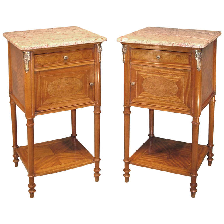 19th Century French Satinwood Bedside Cabinets