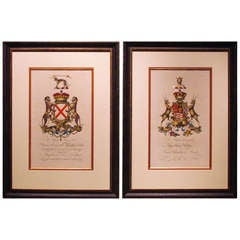 Pair of Heraldic Crest Prints with Later Coloring by William Segar