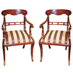 Pair of Regency Period Mahogany Armchairs with Sabre Legs