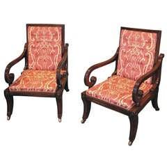 Regency mahogany library armchairs