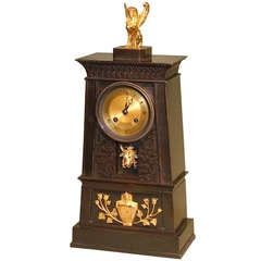 French Empire Bronze and Ormolu Egyptian Style Clock