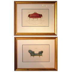 Pair of Mid-19th Century Furniture Prints from Thomas Sheraton's Drawing Book