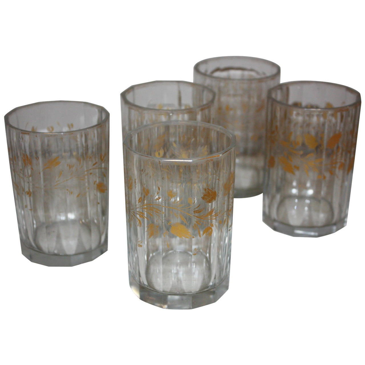 Set of Five 19th Century Glasses with Gold Leaf Motive For Sale