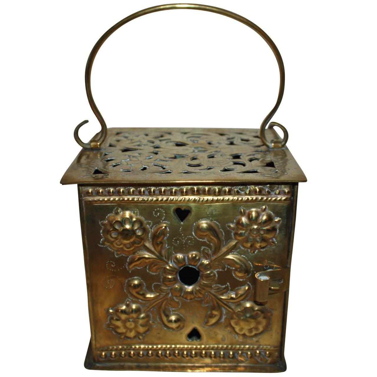 18th Century Rococo Brass Footwarmer