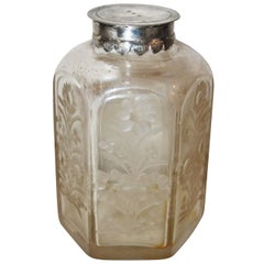 18th Century Glass Flasque with Silver Lid