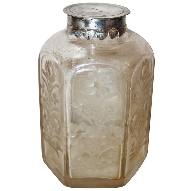 18th Century Glass Flasque with Silver Lid For Sale