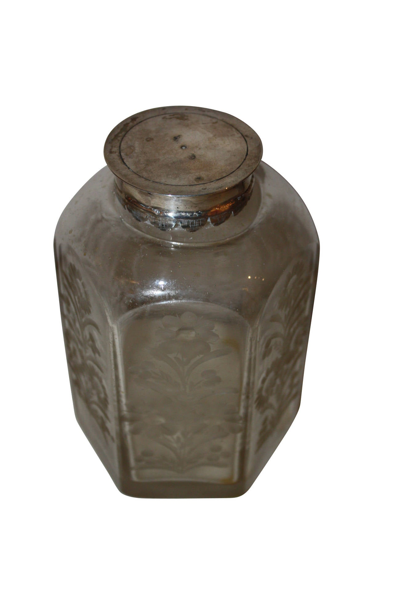 Etched 18th Century Glass Flasque with Silver Lid For Sale