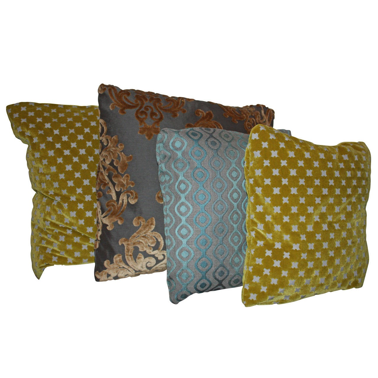 Throw Pillows Vintage Fabric : New Pillows in French Vintage Pattern Fabric For Sale at 1stdibs