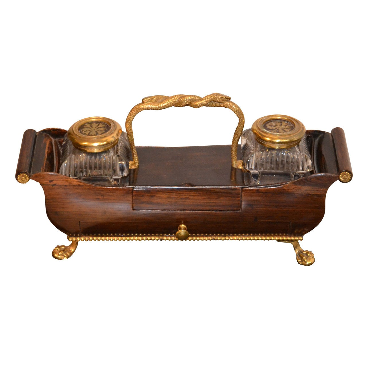Early 19th Century French Ormolu-Gilded Inkwell