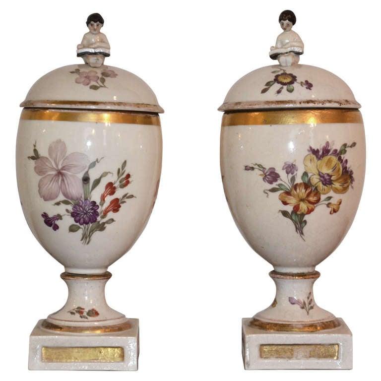 Pair of 18th Century Royal Copenhagen Porcelain Egg Vases