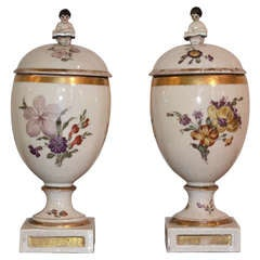 Pair of 18th Century Royal Copenhagen Porcelain Egg Vases
