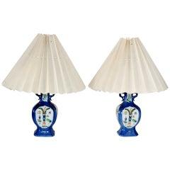 Pair of Lamps, 18th Century Chinese Powder Blue Hexagonal Shaped