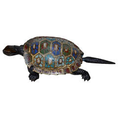 19th Century Chinese Bronze Cloisonné Turtle Ashtray