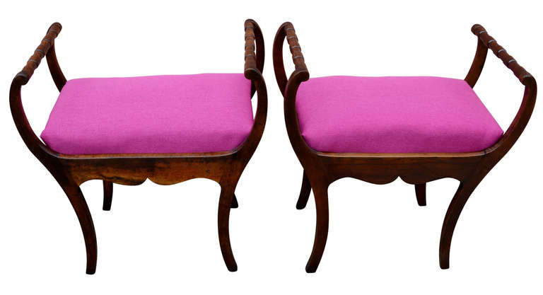 Two 19th Century Art Nouveau Stools with Hot Lipstick Pink Seats 4