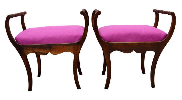 Two 19th Century Art Nouveau Stools with Hot Lipstick Pink Seats 5
