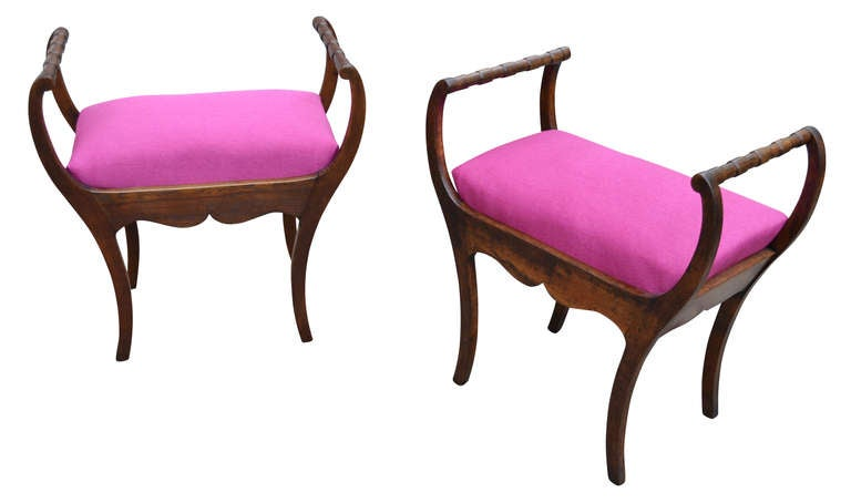 Two 19th Century Art Nouveau Stools with Hot Lipstick Pink Seats 3