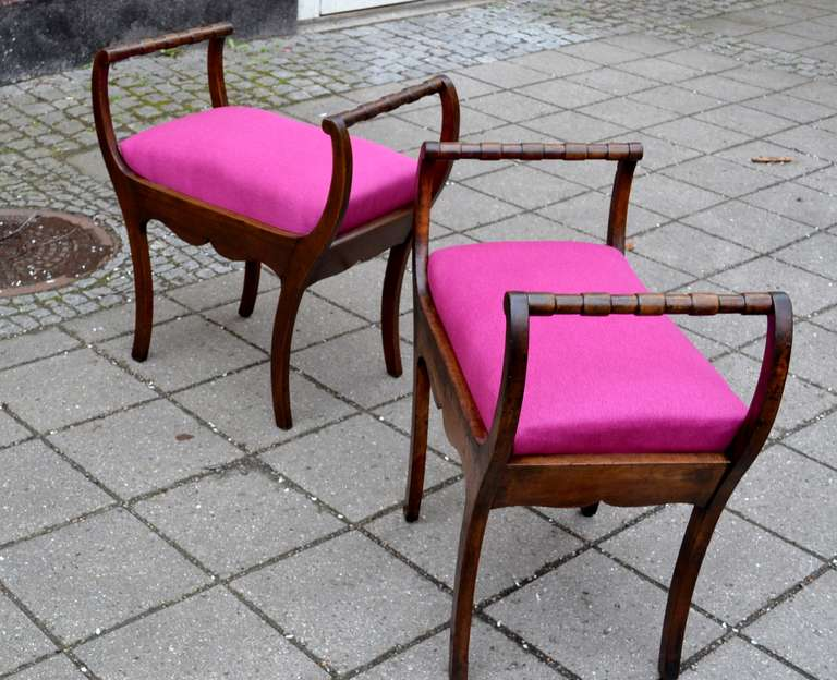 Two 19th Century Art Nouveau Stools with Hot Lipstick Pink Seats In Good Condition In Haddonfield, NJ