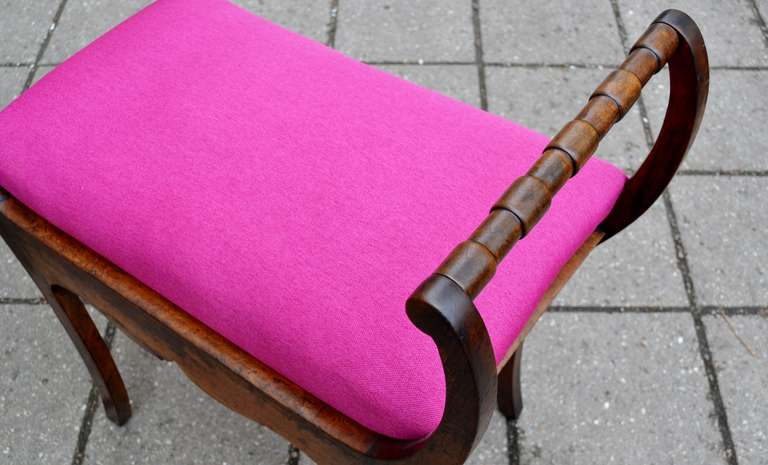 Wood Two 19th Century Art Nouveau Stools with Hot Lipstick Pink Seats