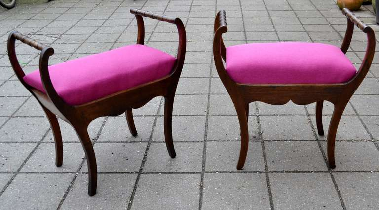 Danish Two 19th Century Art Nouveau Stools with Hot Lipstick Pink Seats
