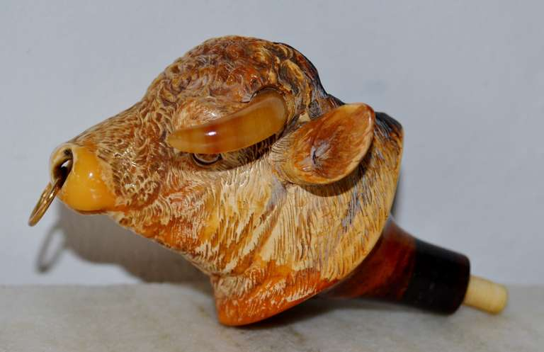 Beautiful meerschaum bull pipehead in its own box from F. Edwards, Glasshouse, in Regent Street, London.