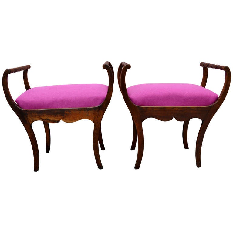 Pair Of 20th Century Art Deco Stools With Hot Lipstick