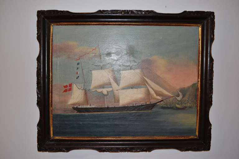 19th Century Painting of the Royal Danish Vessel For Sale 2