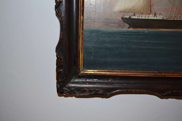 19th Century Painting of the Royal Danish Vessel For Sale 3