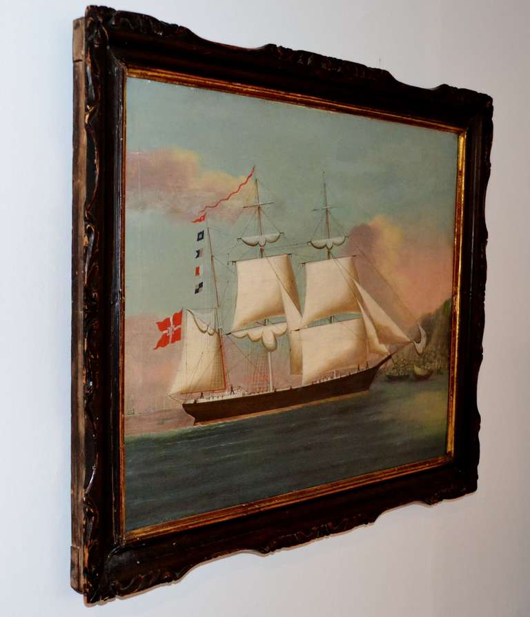 Painting of The Royal Danish vessel just outside the port of Hongkong. It has it's original Chinese frame. Proberly made in Hongkong at the time, it was normal to paint the ships coming in.