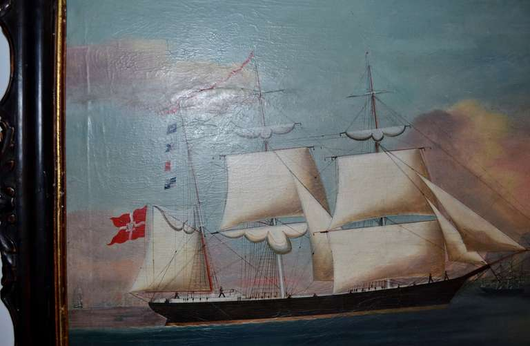 19th Century Painting of the Royal Danish Vessel In Excellent Condition For Sale In Copenhagen, K