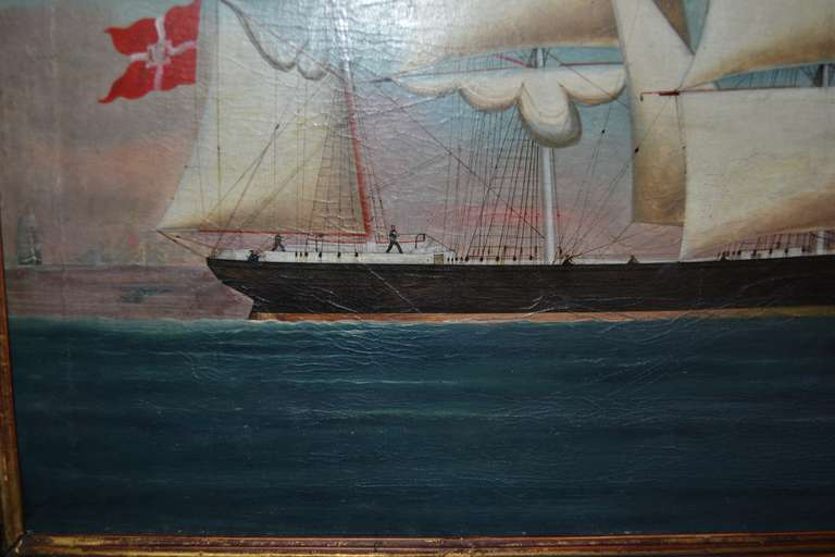 Canvas 19th Century Painting of the Royal Danish Vessel For Sale