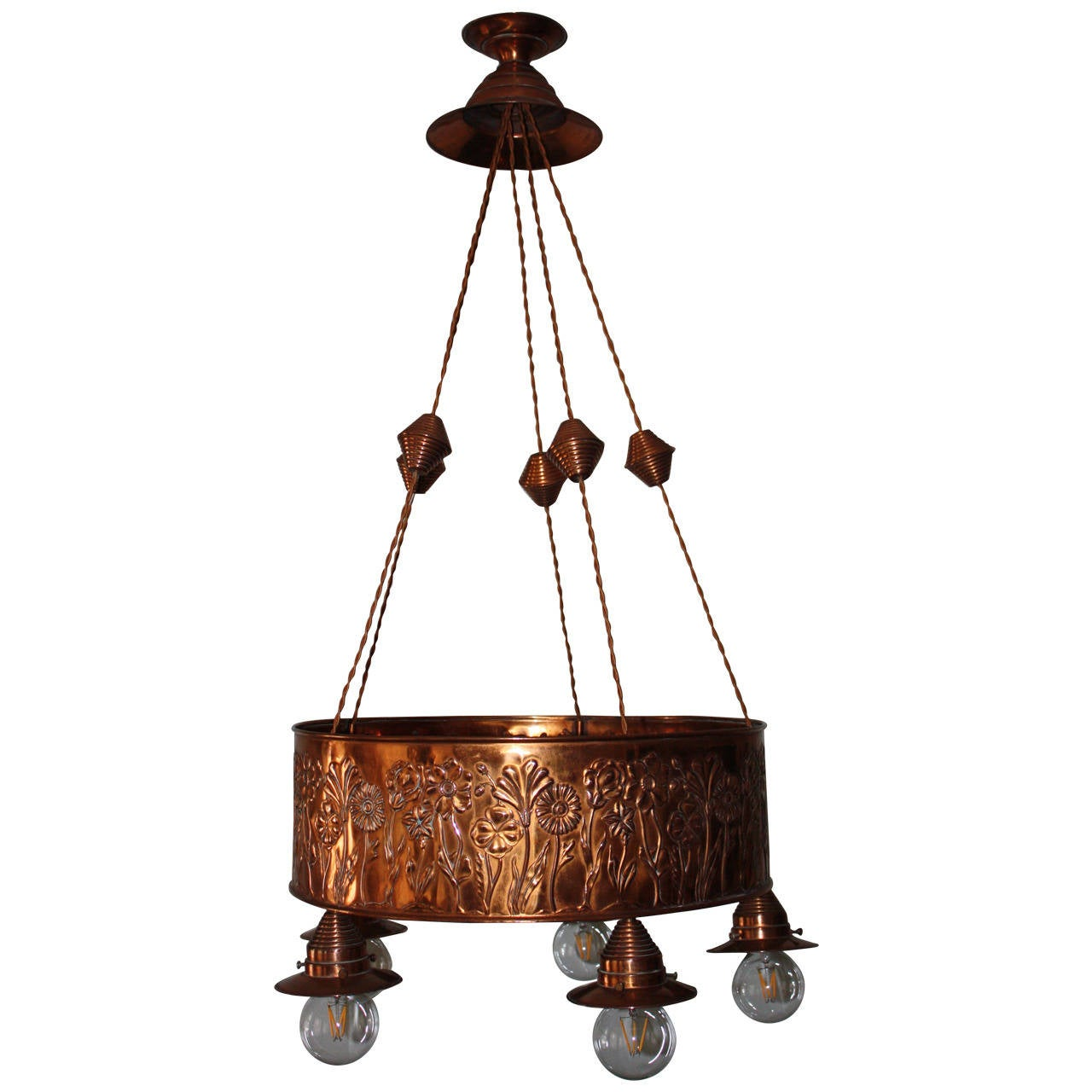 Art Nouveau Copper Chandelier At 1stdibs