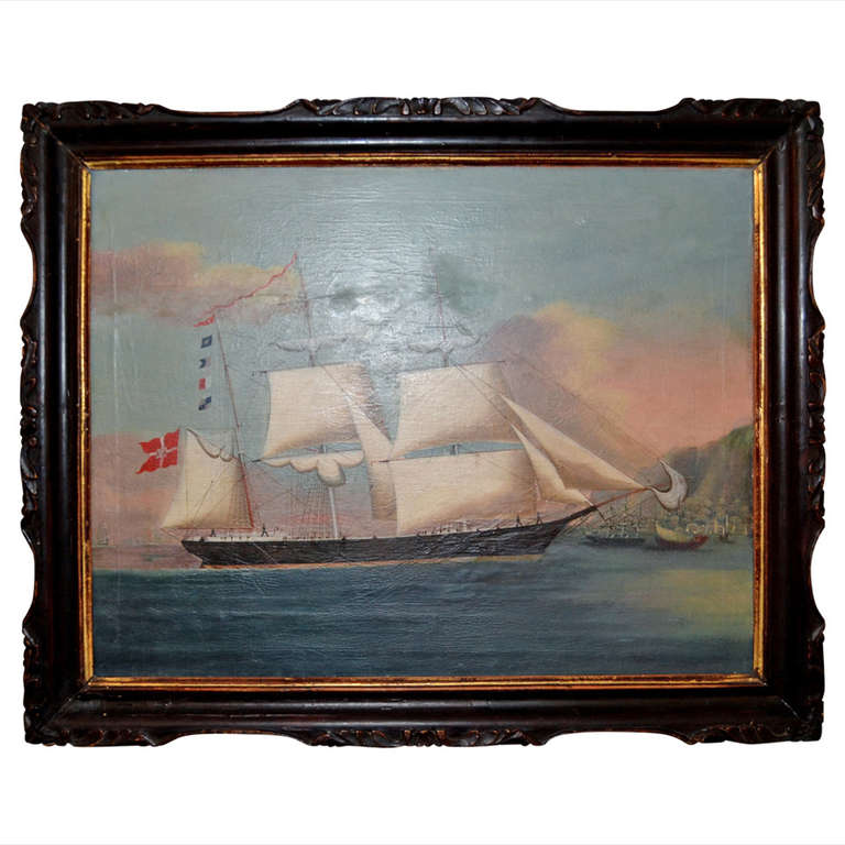 19th Century Hong Painting Of A Royal Danish Vessel In Hong Kong Harbour