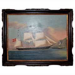 19th Century Painting of the Royal Danish Vessel