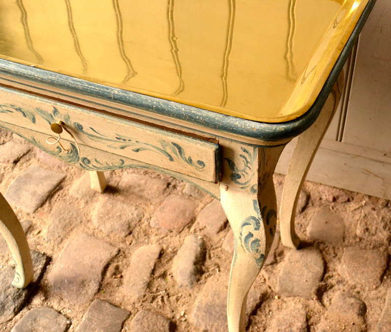 18th Century Rococo Side Table with Brass Tray For Sale 5